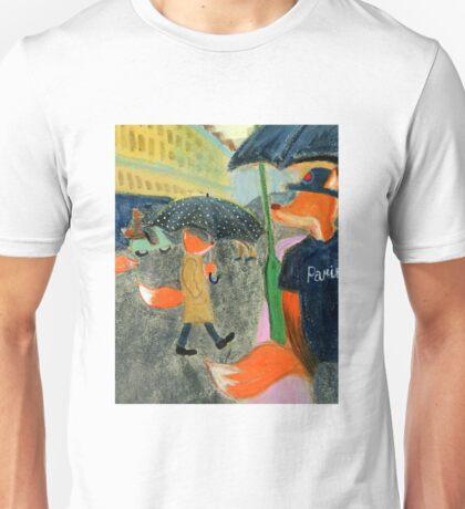 Rainy Day In Paris - Fox With Polka Dot Umbrella Unisex T-Shirt