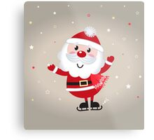 Retro stylized illustration of Santa man. Red Metal Print