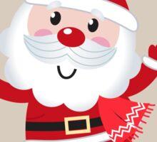 Retro stylized illustration of Santa man. Red Sticker