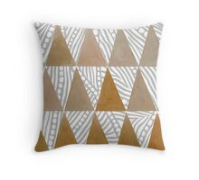 Natural Tribal Watercolor Triangles Throw Pillow