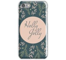 Christmas round design. Holly Jolly. iPhone Case/Skin