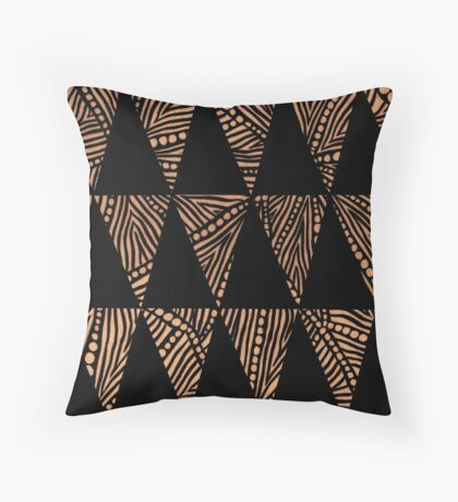 Black and Rust Tribal Triangles Throw Pillow