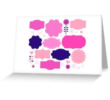 Colorful vintage labels : Girly pink. Original gift idea Greeting Card