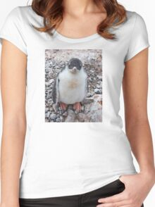 """Gentoo Penguin Chick ~ """"My life's goal....to grow into my feet!"""" Women's Fitted Scoop T-Shirt"""