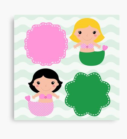 Cute Mermaids with banners : pink green Canvas Print