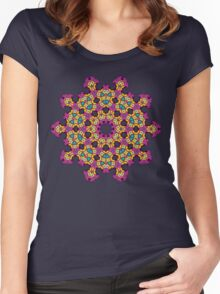 Psychedelic jungle kaleidoscope ornament 4 Women's Fitted Scoop T-Shirt