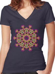 Psychedelic jungle kaleidoscope ornament 4 Women's Fitted V-Neck T-Shirt