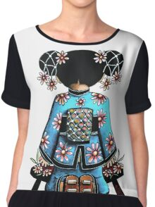 Asia Blue Doll (large design) Chiffon Top