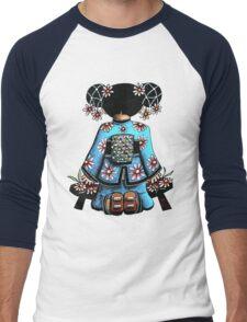 Asia Blue Doll (large design) Men's Baseball ¾ T-Shirt