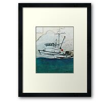 COLUMBIAN STAR Fishing Boat Cathy Peek Nautical Chart Map Oregon Framed Print
