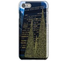 Downtown Christmas in Blue and Green iPhone Case/Skin