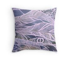 Purple Feathers Throw Pillow