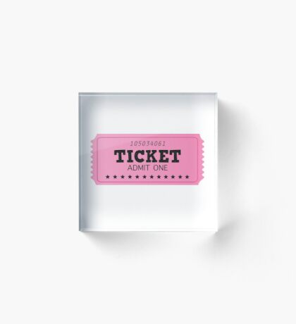 Pink ticket, isolated on white : BIG TICKET Acrylic Block