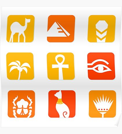 Collection of Egypt icons - pyramid, camel, scarab.. Poster