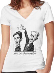Tesla v Edison Women's Fitted V-Neck T-Shirt