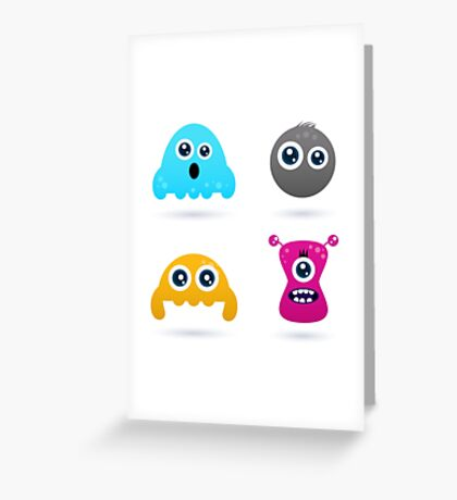 Cute monster or germs characters collection Greeting Card