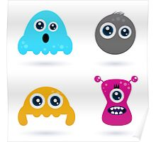 Cute monster or germs characters collection Poster