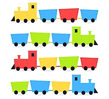 Cute colorful vehicles set cartoon Illustration Photographic Print