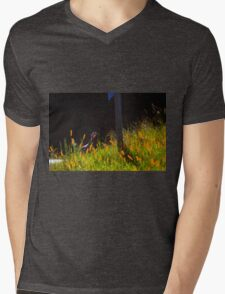 Single Wild Turkey Backlit in Some Grass Mens V-Neck T-Shirt