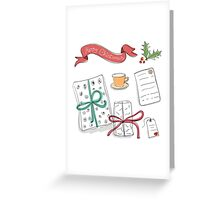 Set of vector sketch gifts. Hand drawn elements for your festive design. Christmas gifts. Greeting Card