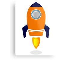 Vector - stylized Rocket Ship : Orange Metal Print