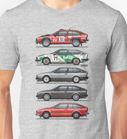 Stack of Alfa Romeo Alfetta GT and GTV6 Unisex T-Shirt
