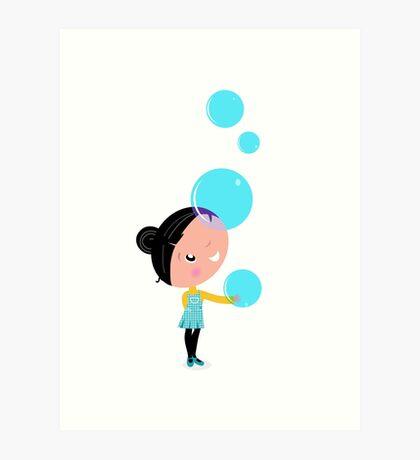 Cute little Child with Soap Bubbles : Blue Art Print