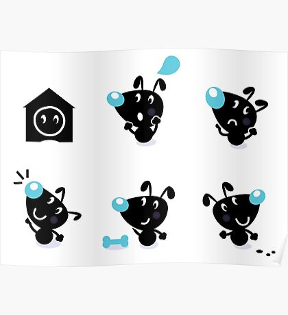 Cute style vector icons. Little black Dogs Poster