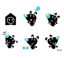 Cute style vector icons. Little black Dogs Photographic Print