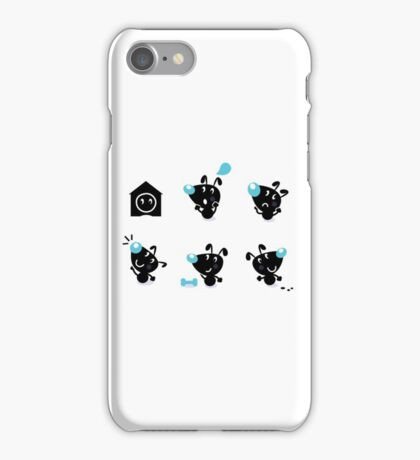 Cute style vector icons. Little black Dogs iPhone Case/Skin
