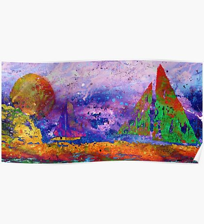 Sailboats at Sunset - Watercolor Seascape Poster