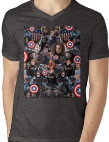 Bucky Barnes and Steve Rogers Collage Mens V-Neck T-Shirt