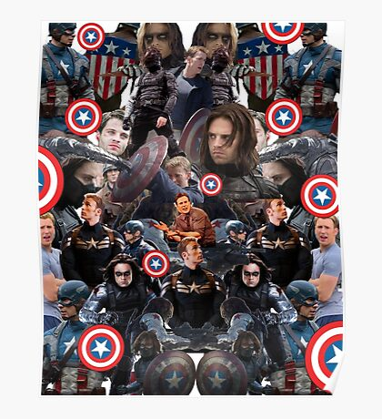 Bucky Barnes and Steve Rogers Collage Poster
