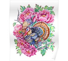 Thanksgiving Turkeys and Peonies Poster