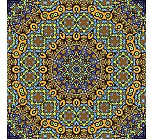 Psychedelic jungle kaleidoscope ornament 12 Photographic Print