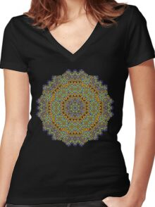 Psychedelic jungle kaleidoscope ornament 12 Women's Fitted V-Neck T-Shirt