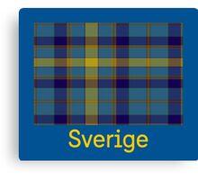 Sverige, Swedish Flag in Plaid on Blue Canvas Print