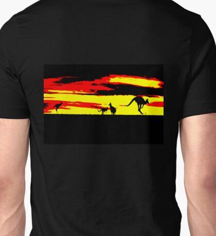 Kangaroos silhouettes at Sunset Unisex T-Shirt