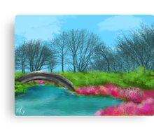 Lake and Bridge Digital painting Pink Flowers Canvas Print