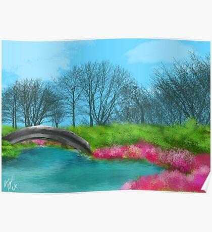 Lake and Bridge Digital painting Pink Flowers Poster