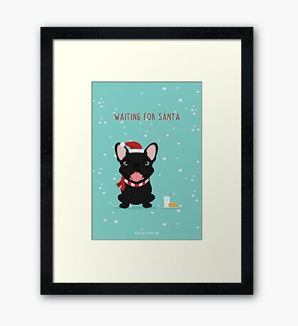 Frenchie Waiting for Santa - Black Edition Framed Print