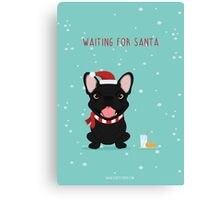 Frenchie Waiting for Santa - Black Edition Canvas Print