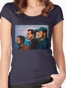 Richard Dreyfuss, Roy Scheider and Robert Shaw in Jaws Women's Fitted Scoop T-Shirt