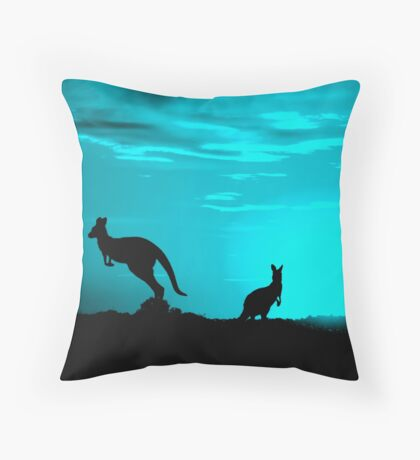Kangaroos silhouettes at Sunset Throw Pillow