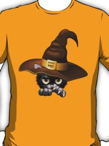 Black Kitty Cartoon With Witch Hat T-Shirt