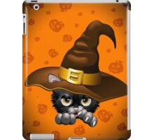 Black Kitty Cartoon With Witch Hat iPad Case/Skin