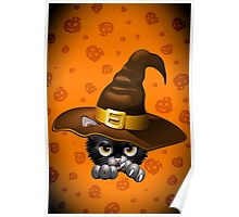 Black Kitty Cartoon With Witch Hat Poster