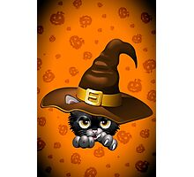 Black Kitty Cartoon With Witch Hat Photographic Print
