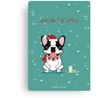 Frenchie Waiting for Santa - Brindle Pied Edition Canvas Print