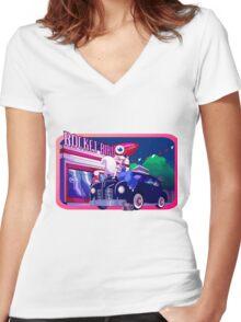 Rocket Bird Station (NIGHT) Women's Fitted V-Neck T-Shirt